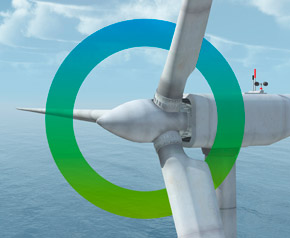 fors logo surrounds a wind mill in the sea to generate energy from renewable ressources