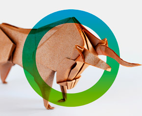 Bull made from paper symbolizing finance sector and strategy. fors logo surrounds the bull